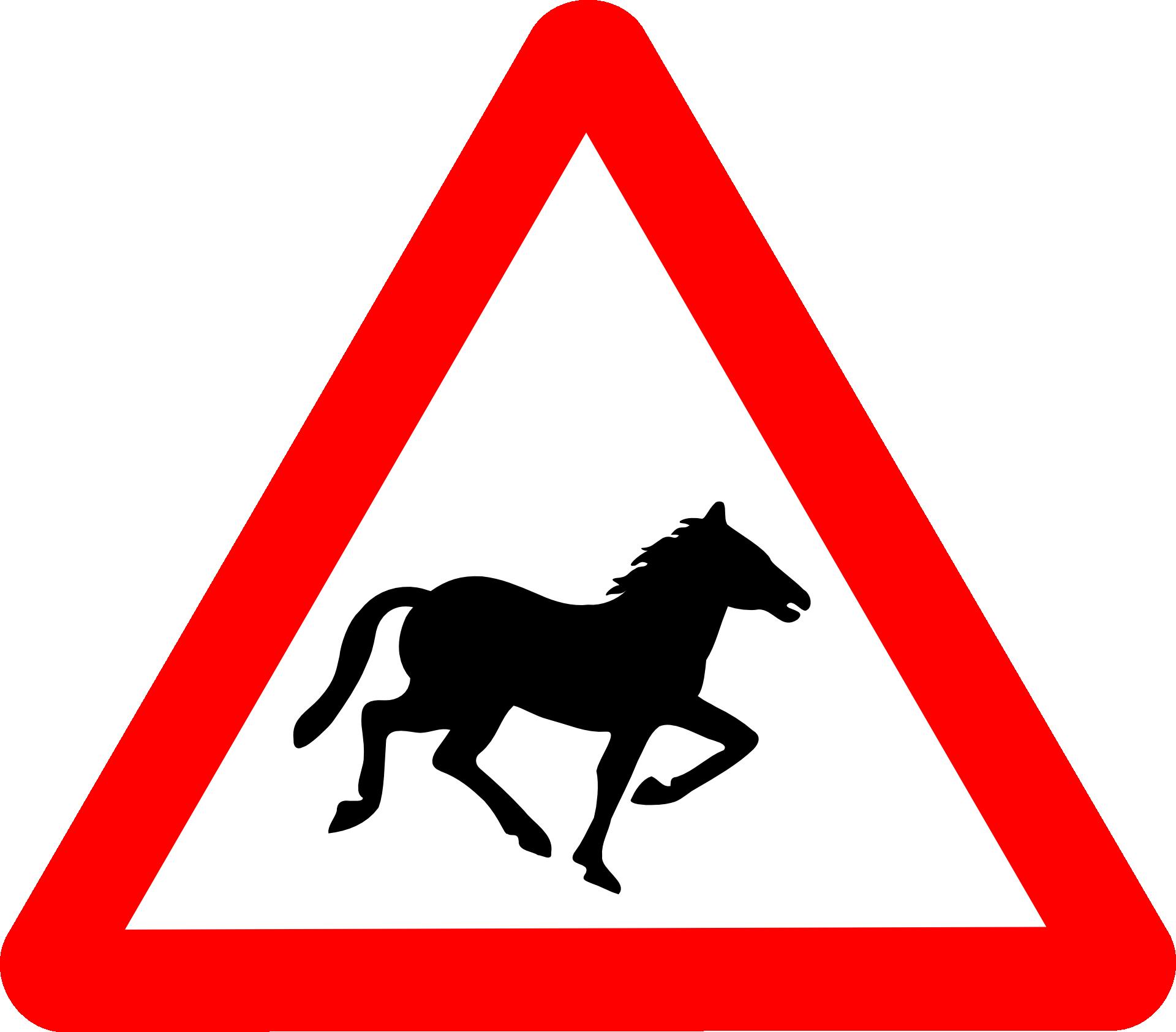 drogowy znak ostrzegawczy z koniem w środku